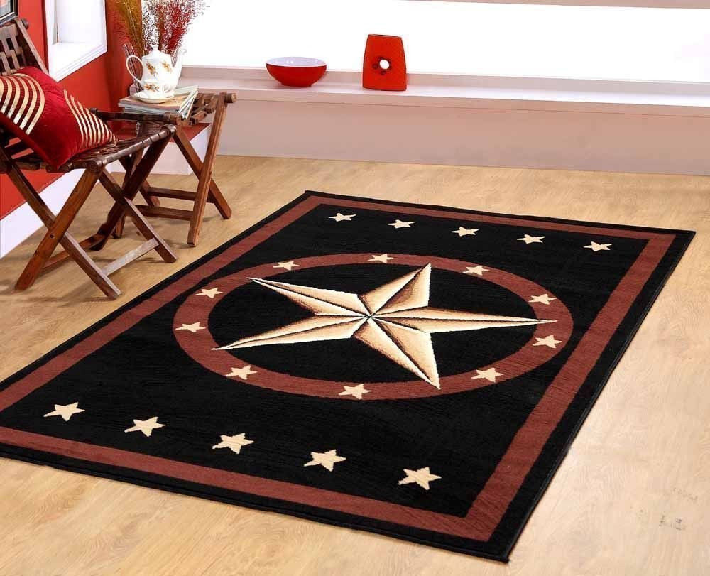 5 x 7 Texas Western Star Rustic Cowboy Decor Area Rug