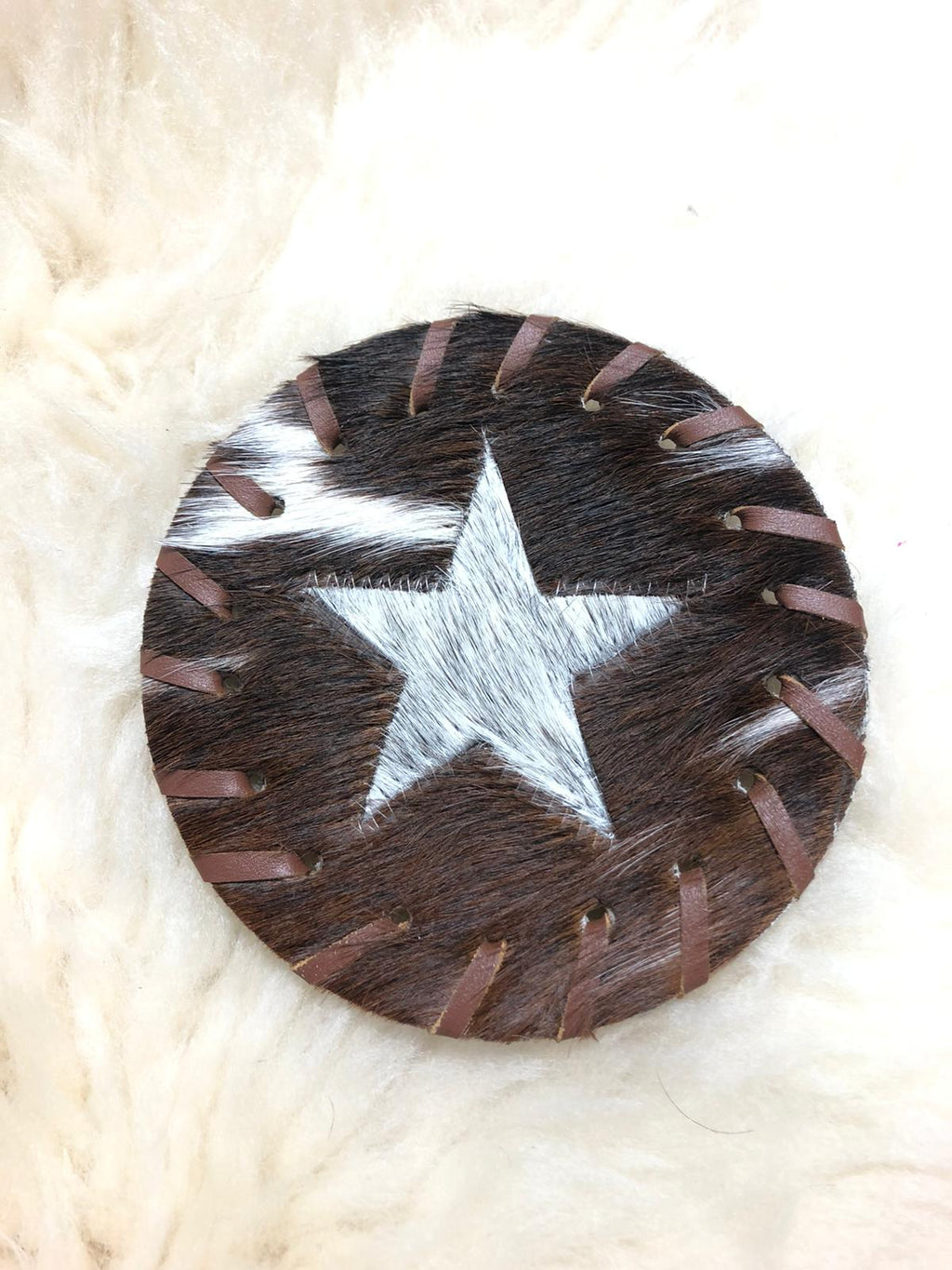 STAR COWHIDE COASTER