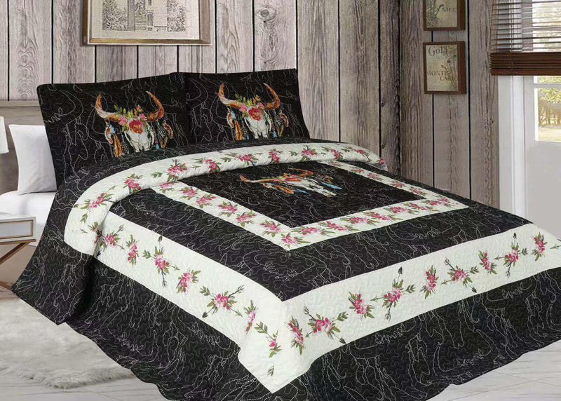 Flowers & Skulls Western 3pc Quilt Set