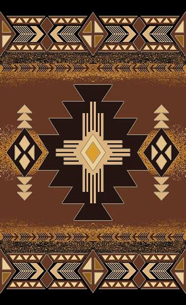 Southwestern Brown Lodge Triangle Native Rug- 5 x 7
