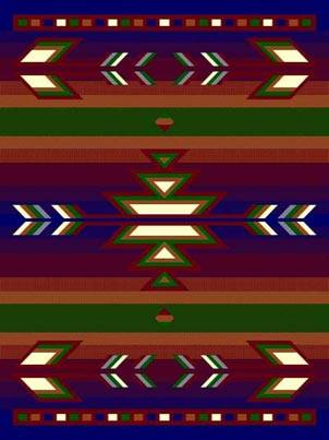 Southwestern Blue Lodge Triangle Native Rug- 5 x 7