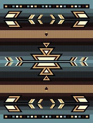 Southwestern Sky Blue Lodge Triangle Native Rug- 5 x 7
