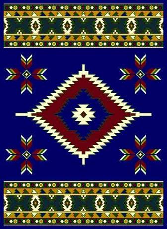 Southwestern Blue  Arrow Head Lodge Triangle Native Rug- 5 x 7