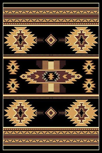 Southwestern Black Arrow Head Lodge Triangle Native Rug- 5 x 7