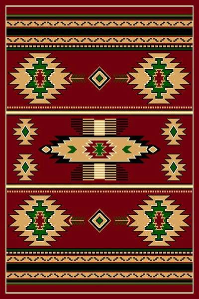 Southwestern Burgundy Lodge Triangle Native Rug- 5 x 7