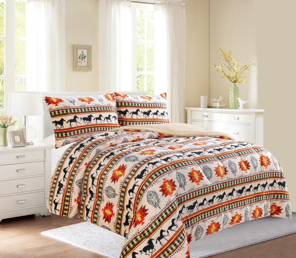Western Horse style 3Pc Bed Set