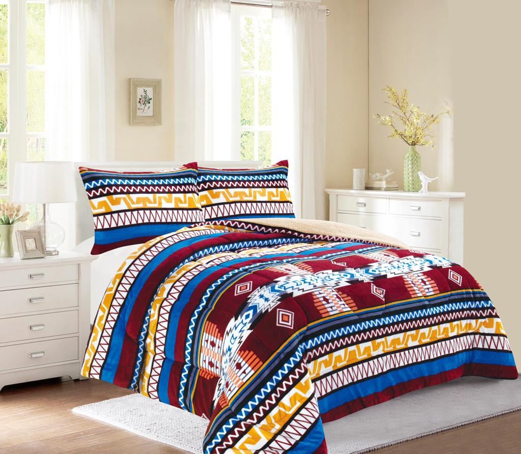 Blue Western style 3Pc Bed Set