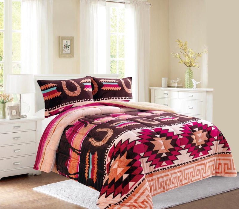 Western Native Style 3Pc Bed Set