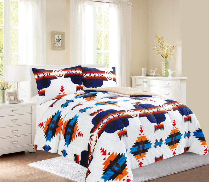 White Western Style 3Pc Bed Set