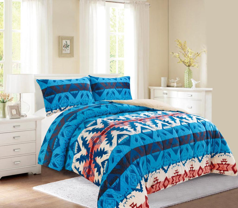 Light Blue Western Style 3Pc Bed Set
