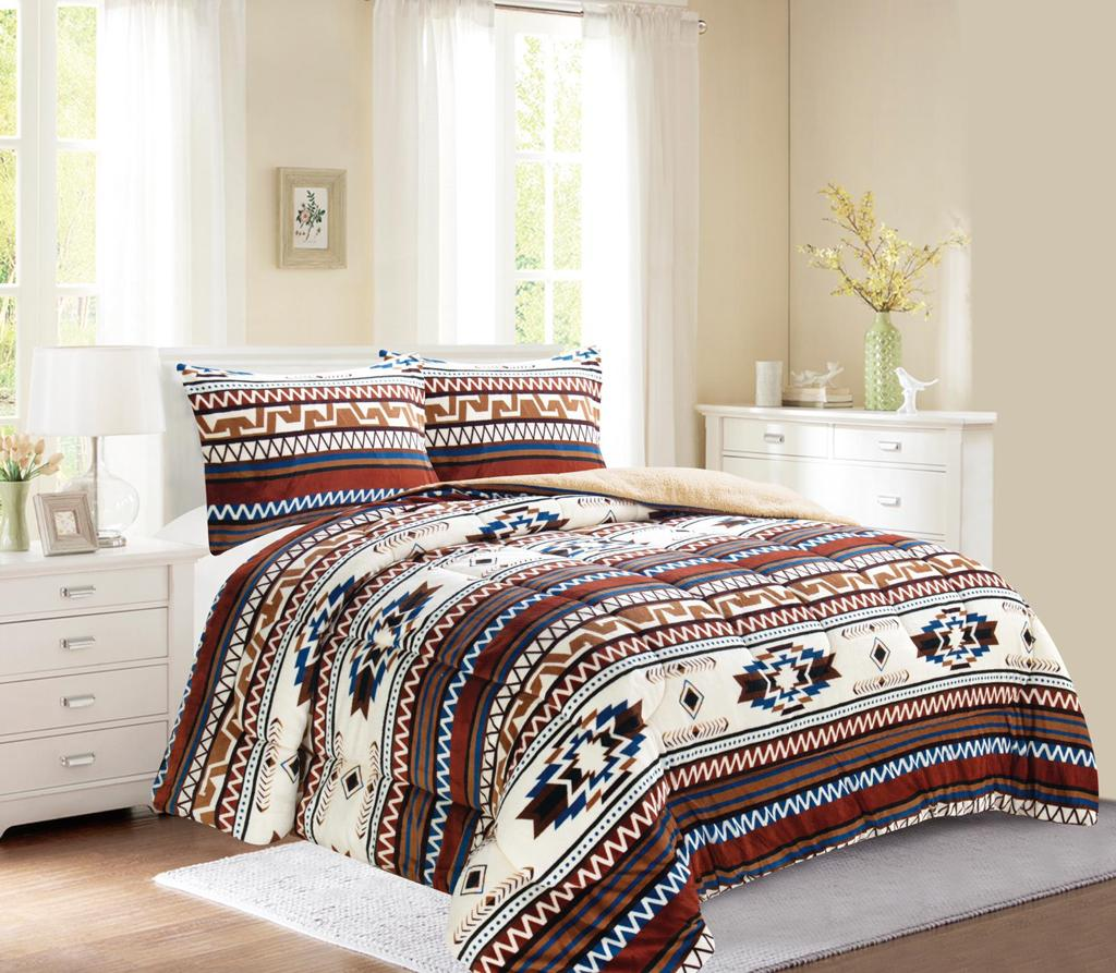 Dark Brown Western Style 3Pc Bed Set