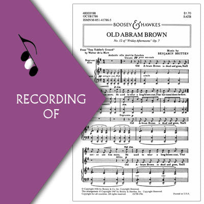 OLD ABRAM BROWN (No. 12 of Friday Afternoons Op.7)