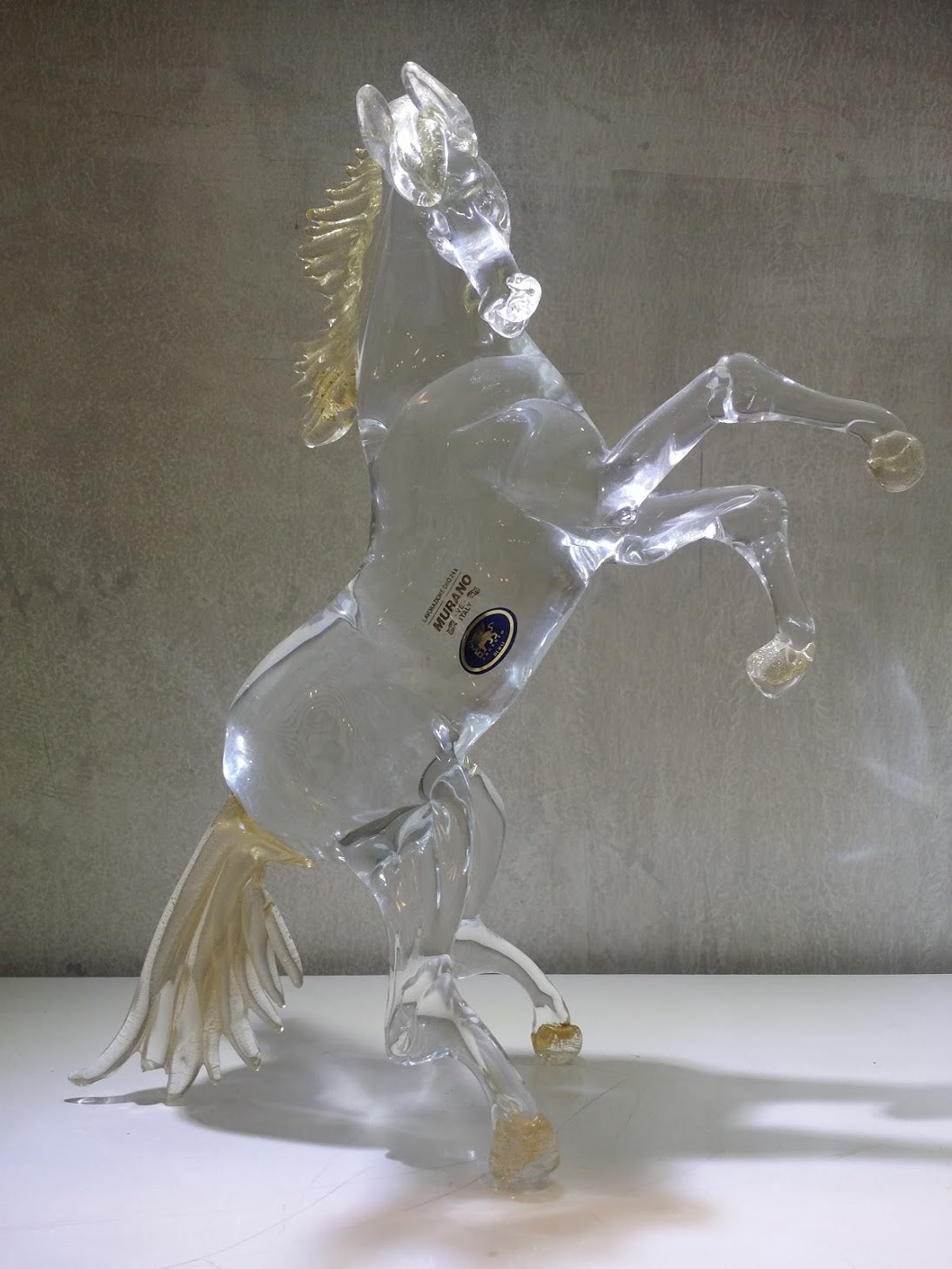 Crystal Gold Trims Murano Glass Horse