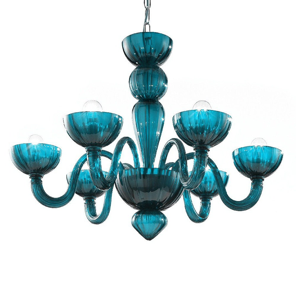 Murano Glass Chandelier Petroleum Turquoise - distributed by Argento Dubai