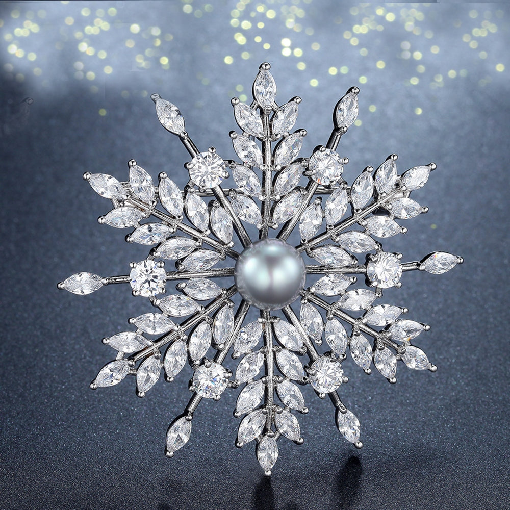 Luxury Cubic Zircon Snowflake Brooch