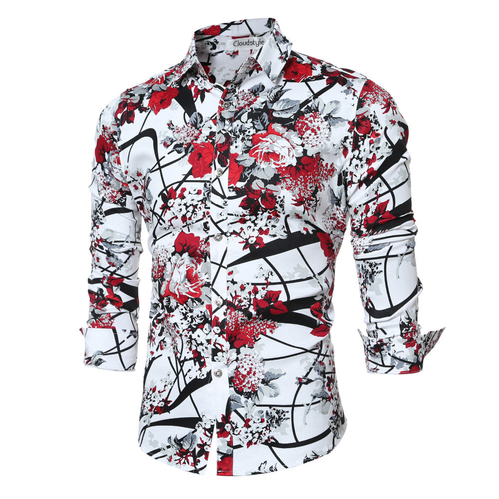 Men Shirts Casual Japanese Floral