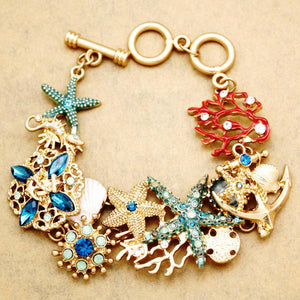 Nautical Sea Horse Star Fish Crystal Coral Anchor Bracelet