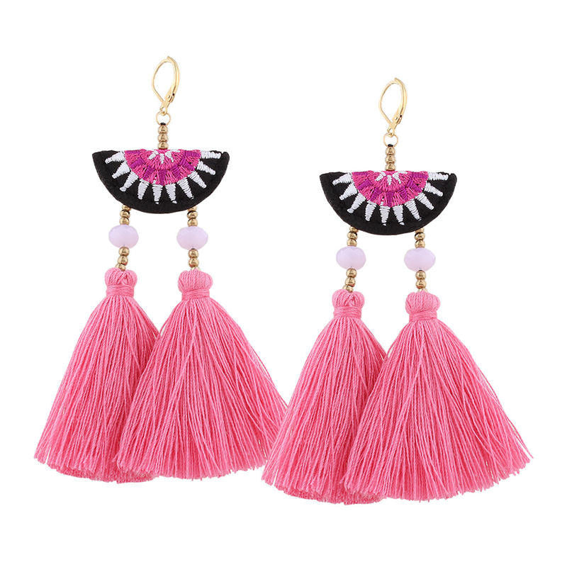 JEWELRY ARGENTO DUBAI CONCEPT STORE Earrings Embroidery Pink