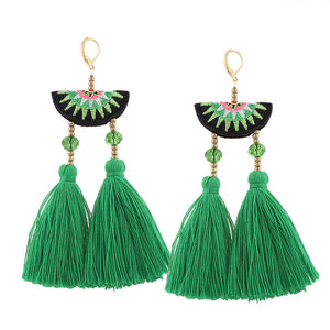 JEWELRY ARGENTO DUBAI CONCEPT STORE Earrings Tassel Embroidery Green
