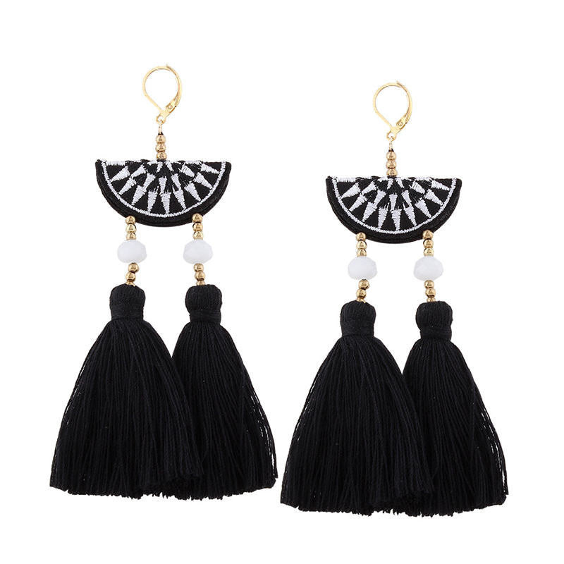 JEWELRY ARGENTO DUBAI CONCEPT STORE Earrings Embroidery black