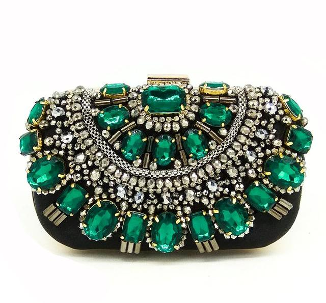 JEWELRY ARGENTO DUBAI CONCEPT STORE green crystals stones bag