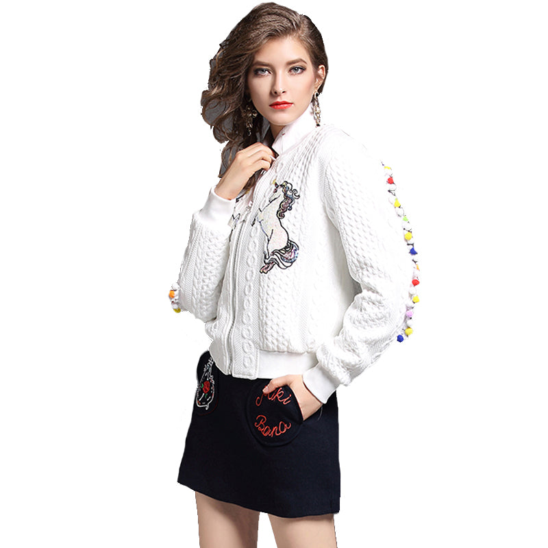 Luxury Horse Embroidery Jacquard Woman Jacket Casual