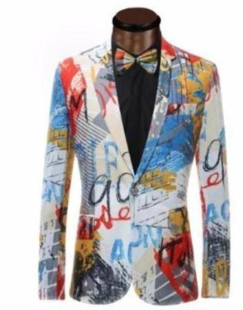ARGENTO Dubai Dandy Male Party Abstract Art Graffiti Design Jacket Suit Blazer
