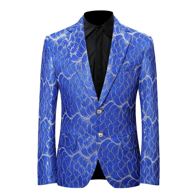 Luxury Blue Men Suit Tuxedo Blazer Slim