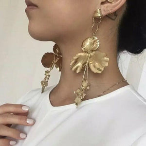 Metal Flower Tassel Drop Earrings