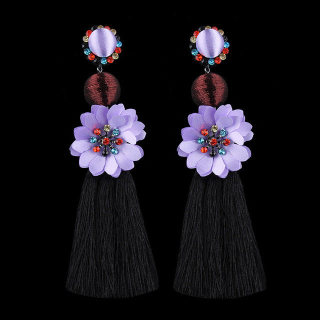 Creative Flower Drop Black Silk Tassel Earrings