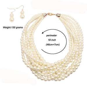 Multi Layer Pearls Strand Collar Necklace