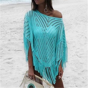 Turquoise Crochet Beach Cover up