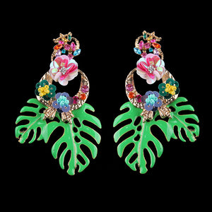 Big Green Leaf & Flower Crystal Drop Earrings