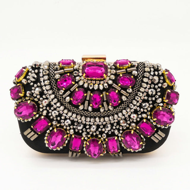 ARGENTO DUBAI CONCEPT STORE pink crystals stones evening bag
