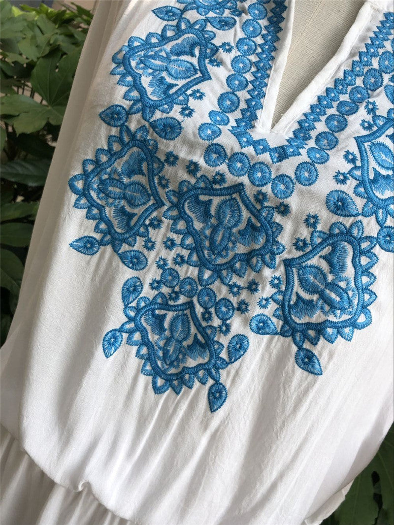 Blue Ocean Embroidery Beach Cover up