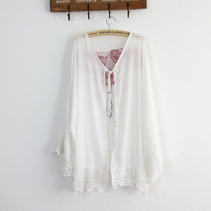 Trendy beach chiffon laces eagle cover up blouse