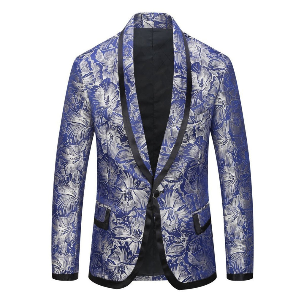 ARGENTO DUBAI SILVER BLUE SLIM Blazer Men  PARTY DISCO CEREMONY FILM