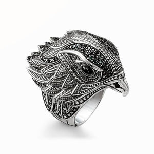 Silver Black Eagle Hawk Falcon Head Ring