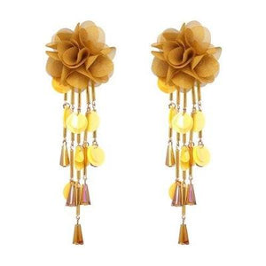 Tassel Earrings Handmade Lace Flowers