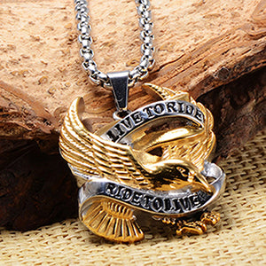 Eagle Pendant Necklaces Stainless Steel LIVE TO RIDE Motorcycle