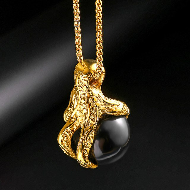 Men Golden Charm Eagle with Black Pearl