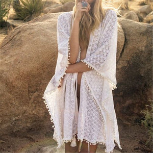 Romantic Laced Beach Cover up Tunics
