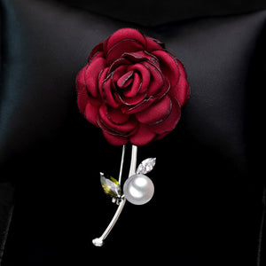 Rose Flower Brooch Jewelry Pin with Imitation Pearl & Crystal