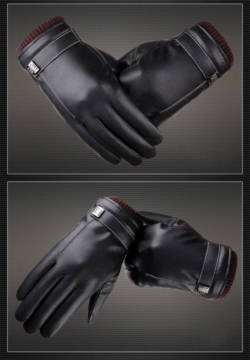 Black Leather Touchscreen Gloves