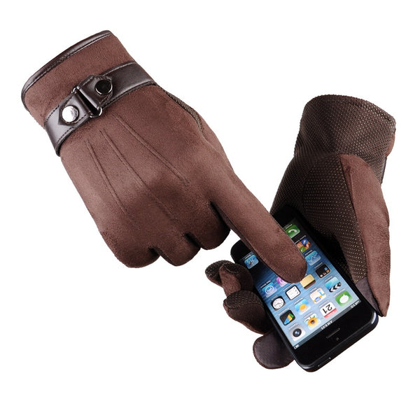 Suede Brown Touchscreen Gloves