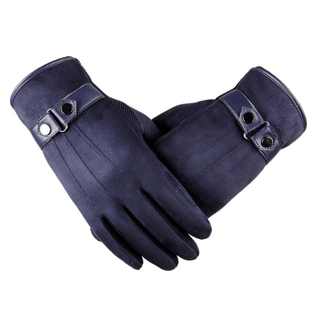 Suede Blue Touchscreen Gloves