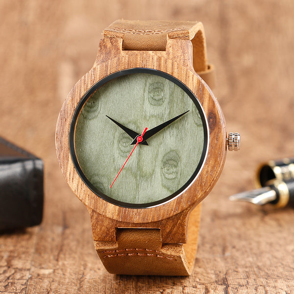 Minimalist Green Bamboo Watch