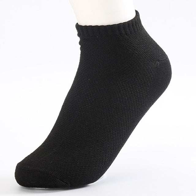 10 Pairs of Solid Black Mesh Socks