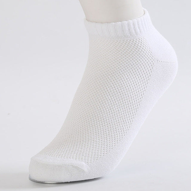 10 Pairs of Solid White Mesh Socks