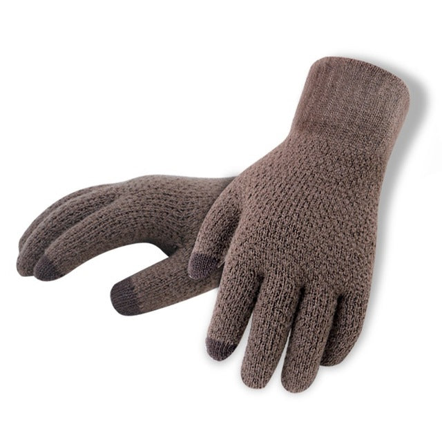 Knitted Grey Gloves Touchscreen